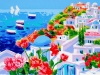 Santorini: due vele all\'orizzonte